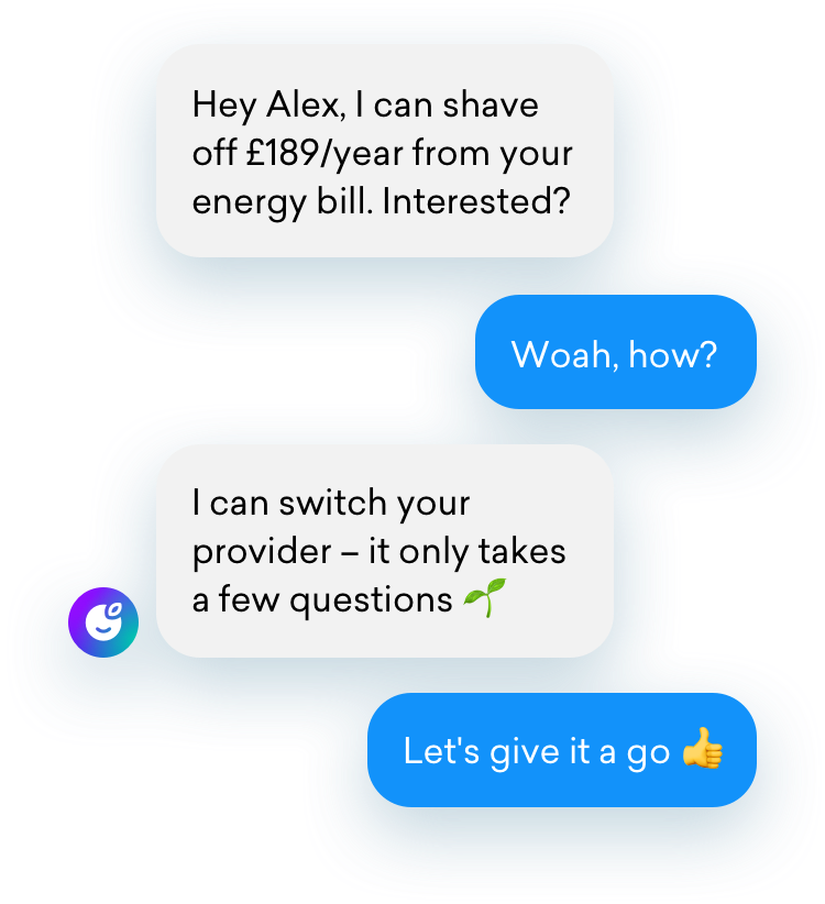 Chat showing a bill switch recommendation