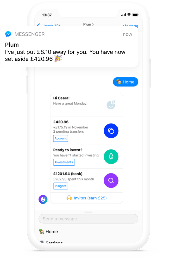 Plum in Facebook Messenger