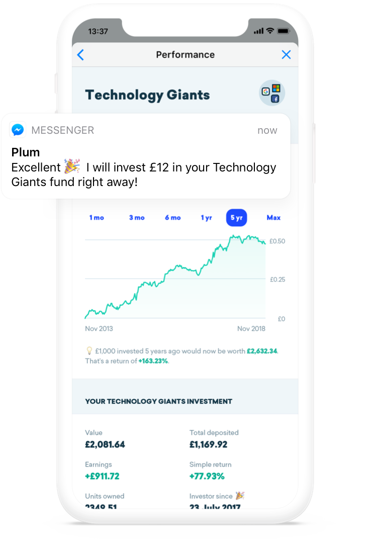 Plum Savings in Facebook Messenger