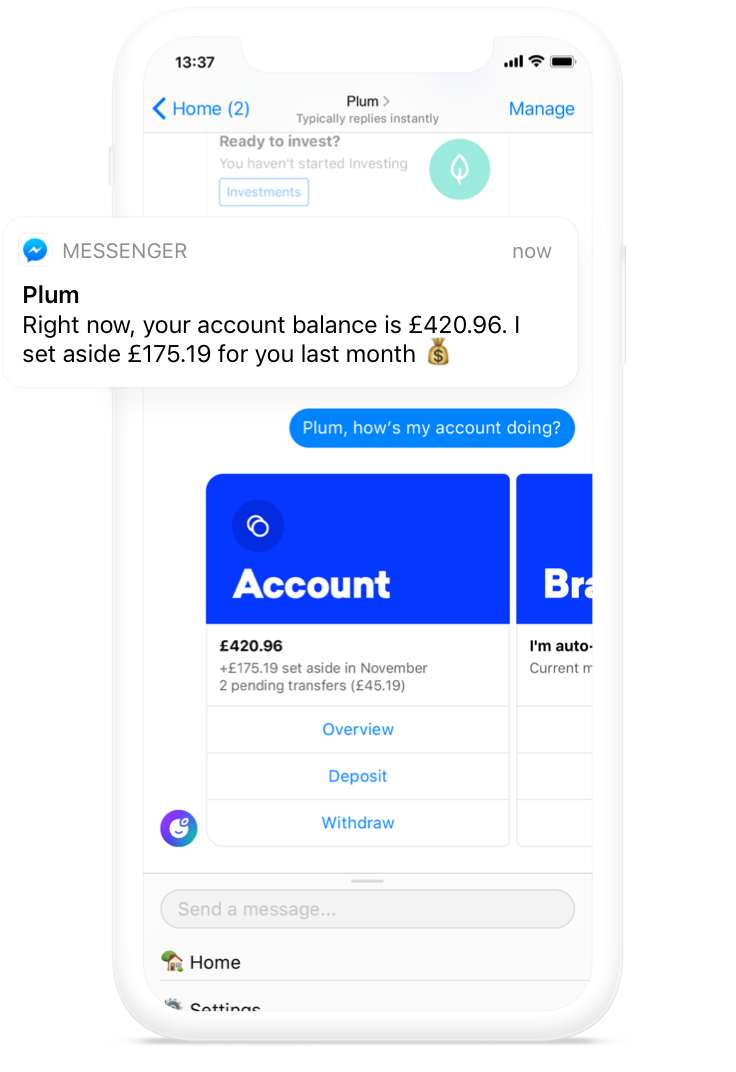 Plum Account in Facebook Messenger